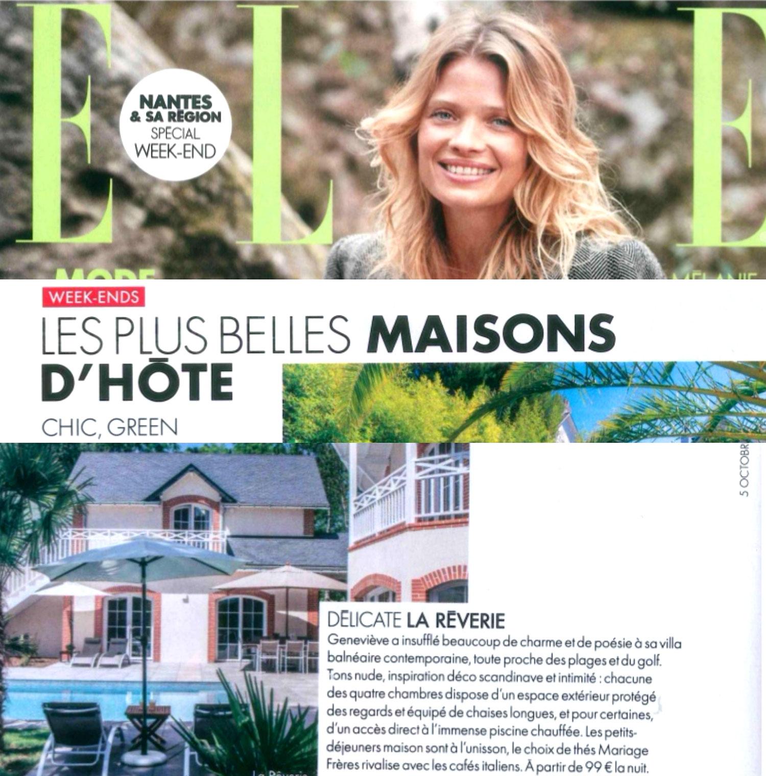 Magazine Elle maison d'hôte La Rêverie Pornic